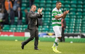 GLASGOW, SCOTLAND - JULY 20: Manager of Celtic Brendan Rodgers along with  Emilio Izaguirre  applauds the fans at the end of the  UEFA Champions League Second Qualifying Round: Second Leg between Celtic Football Club and Lincoln Red Imps   at Celtic Park on July 20, 2016 in Glasgow, Scotland. (Photo by Steve  Welsh/Getty Images)