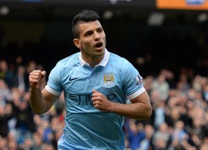 Manchester City's Argentinian striker Sergio Aguero celebrates after scoring their second goal from the penalty spot during the English Premier League football match between Manchester City and Stoke at the Etihad Stadium in Manchester, north west England, on April 23, 2016. / AFP / OLI SCARFF / RESTRICTED TO EDITORIAL USE. No use with unauthorized audio, video, data, fixture lists, club/league logos or 'live' services. Online in-match use limited to 75 images, no video emulation. No use in betting, games or single club/league/player publications.  /         (Photo credit should read OLI SCARFF/AFP/Getty Images)