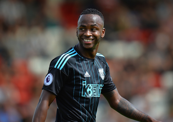 KIDDERMINSTER, ENGLAND - JULY 16:  Saido Berahino of West Bromwich Albion smiles after scoring their first goal during the Pre-Season Friendly match between Kidderminster Harriers and West Bromwich Albion at Aggborough Stadium on July 16, 2016 in Kidderminster, England.  (Photo by Tony Marshall/Getty Images)