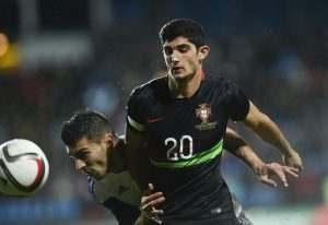 Luxembourg's Daniel Da Mota (L) vies with Portugal's Goncalo Guedes (R) during the friendly football match between Luxembourg and Portugal at the Josy Barthel Stadium, on November 17, 2015 in Luxembourg. AFP PHOTO / JOHN THYS        (Photo credit should read JOHN THYS/AFP/Getty Images)