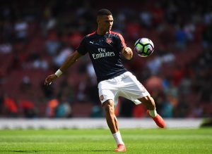 LONDON, ENGLAND - AUGUST 14: Kieran Gibbs of Arsenal warms up prior to the Premier League match between Arsenal and Liverpool at Emirates Stadium on August 14, 2016 in London, England.  (Photo by Mike Hewitt/Getty Images)