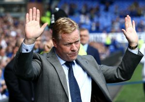 LIVERPOOL, ENGLAND - AUGUST 06:  Manager of Everton Ronald Koeman acknowledges the fans after being introduced during the pre-season friendly match between Everton and Espanyol at Goodison Park on August 6, 2016 in Liverpool, England.  (Photo by Jan Kruger/Getty Images)