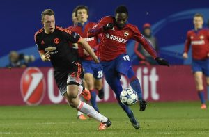Manchester United's English defender Phil Jones (L) vies for the ball with CSKA Moscow's Nigerian forward Ahmed Musa during the UEFA Champions League group B football match between PFC CSKA Moscow and FC Manchester United at the Arena Khimki stadium outside Moscow on October 21, 2015. AFP PHOTO / YURI KADOBNOV        (Photo credit should read YURI KADOBNOV/AFP/Getty Images)