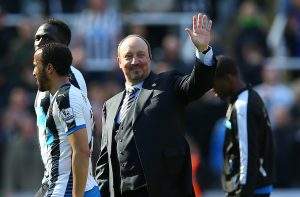 NEWCASTLE, ENGLAND - MAY 15:  Newcastle United manager Rafa Benitez waves during the Barclays Premier League match between Newcastle United and Tottenham at St James Park on May 15, 2016 in Newcastle, England. (Photo by Ian MacNicol/Getty images)