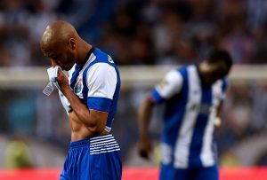 Porto's Algerian midfielder Yacine Brahimi wipes his face at the end of the Portuguese league football match FC Porto vs Sporting CP at the Dragao stadium in Porto on April 29, 2016. / AFP / FRANCISCO LEONG        (Photo credit should read FRANCISCO LEONG/AFP/Getty Images)