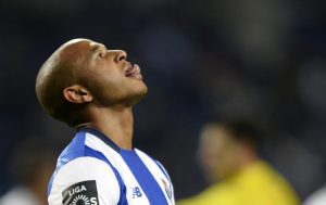 Porto's Algerian midfielder Yacine Brahimi looks skywards  during the Portuguese league football match FC Porto vs Uniao da Madeira at the Dragao stadium in Porto on March 12, 2016. / AFP / MIGUEL RIOPA        (Photo credit should read MIGUEL RIOPA/AFP/Getty Images)