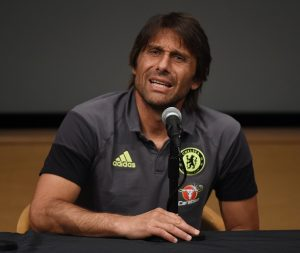 New Chelsea coach Antonio Conte speaks during a press conference before their International Champions Cup (ICC) game against Liverpool, at the UCLA Campus in Westwood, California on July 26, 2016.   The two teams will meet at the Rose Bowl on July 27, 2016. / AFP / Mark Ralston        (Photo credit should read MARK RALSTON/AFP/Getty Images)
