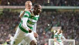 GLASGOW, SCOTLAND - AUGUST 3: Moussa Dembele of Celtic celebrates his goal with Leigh Griffiths during the UEFA Champions League, Third Round, Second Leg between Celtic and Astana at Celtic Park on August 3, 2016 in Glasgow, Scotland. (Photo by Steve  Welsh/Getty Images)