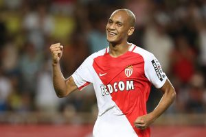 Monaco's Brazilian defender Fabinho celebrates after scoring a goal during the French Ligue 1 football match Monaco (ASM) versus Paris-Saint-Germain (PSG) on August 28, 2016 at the Louis II Stadium in Monaco.   / AFP / VALERY HACHE        (Photo credit should read VALERY HACHE/AFP/Getty Images)