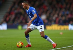 BOURNEMOUTH, ENGLAND - NOVEMBER 28: Brendan Galloway of Everton in action during the Barclays Premier League match between A.F.C. Bournemouth and Everton at Vitality Stadium on November 28, 2015 in Bournemouth, England. (Photo by Steve Bardens/Getty Images)