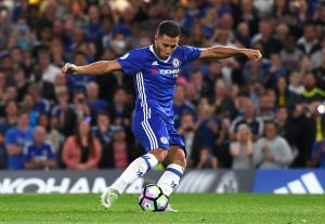 LONDON, ENGLAND - AUGUST 15: Eden Hazard of Chelsea scores his penalty during the Premier League match between Chelsea and West Ham United at Stamford Bridge on August 15, 2016 in London, England.  (Photo by Michael Regan/Getty Images)