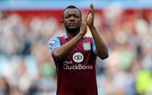 BIRMINGHAM, ENGLAND - MAY 07:  Jordan Ayew of Aston Villa applauds the supporters after his team's scoreless draw in the Barclays Premier League match between Aston Villa and Newcastle United at Villa Park on May 7, 2016 in Birmingham, United Kingdom.  (Photo by Richard Heathcote/Getty Images)