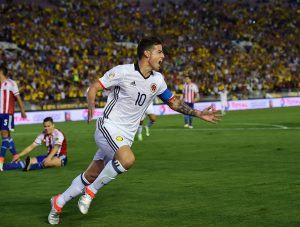 Colombia's James Rodriguez celebrates after scoring against Paraguay during a Copa America Centenario football match  in Pasadena, California, United States, on June 7, 2016.  / AFP / Frederic J. Brown        (Photo credit should read FREDERIC J. BROWN/AFP/Getty Images)
