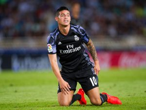 SAN SEBASTIAN, SPAIN - AUGUST 21:  James Rodriguez of Real Madrid reacts during the La Liga match between Real Sociedad de Futbol and Real Madrid at Estadio Anoeta on August 21, 2016 in San Sebastian, Spain.  (Photo by Juan Manuel Serrano Arce/Getty Images)