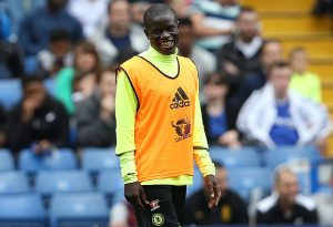 Chelsea's French midfielder N'Golo Kante is pictured as he takes part in a training session at Chelsea's Stamford Bridge Stadium in London on August 10, 2016, ahead of the start of the English Premiership season on Saturday August 13, 2016.  / AFP / JUSTIN TALLIS /         (Photo credit should read JUSTIN TALLIS/AFP/Getty Images)