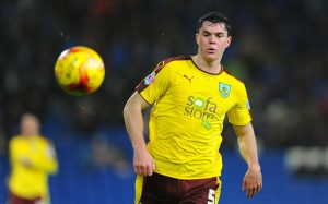 CARDIFF, WALES - NOVEMBER 28: Michael Keane of Burnley during the Sky Bet Championship match between Cardiff City and Burnley at the Cardiff City Stadium on November 28, 2015 in Cardiff, Wales.  (Photo by Harry Trump/Getty Images)