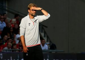 Liverpool's German manager Jurgen Klopp watches from the touchline during the pre-season International Champions Cup football match between Spanish champions, Barcelona and Liverpool at Wembley stadium in London on August 6, 2016. / AFP / Ian KINGTON        (Photo credit should read IAN KINGTON/AFP/Getty Images)