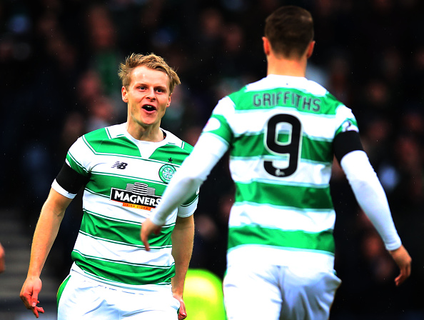 GLASGOW, SCOTLAND - JANUARY 31: Gary Mackay-Steven of Celtic celebrates scoring with Leigh Griffiths of Celtic during the Scottish League Cup Semi final match between Ross County and Celtic at Hampden Stadium on January 31, 2016 in Glasgow, United Kingdom. (Photo by Ian MacNicol/Getty images)