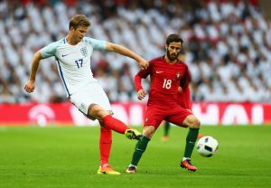 LONDON, ENGLAND - JUNE 02:  Eric Dier of England is watched by Rafa Silva of Portugal during the international friendly match between England and Portugal at Wembley Stadium on June 2, 2016 in London, England.  (Photo by Clive Rose/Getty Images)
