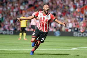 SOUTHAMPTON, ENGLAND - AUGUST 13: Nathan Redmond of Southampton celebrates scoring his sides first goal during the Premier League match between Southampton and Watford at St Mary's Stadium on August 13, 2016 in Southampton, England.  (Photo by Tom Dulat/Getty Images)
