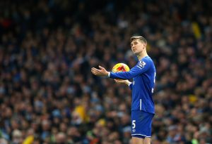 MANCHESTER, ENGLAND - JANUARY 27:  John Stones of Everton takes a throw in during the Capital One Cup Semi Final Second Leg match between Manchester City and Everton at Etihad Stadium on January 27, 2016 in Manchester, England.  (Photo by Alex Livesey/Getty Images)