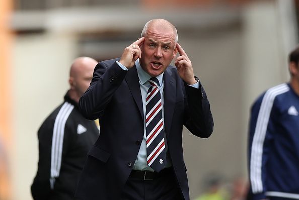 GLASGOW, SCOTLAND - AUGUST 06: Rangers manager Mark Warburton on the touchline during the Ladbrokes Scottish Premiership match between Rangers and Hamilton Academical at Ibrox Stadium on August 6, 2016 in Glasgow, Scotland. (Photo by Lynne Cameron/Getty Images)