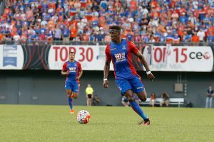 CINCINNATI, OH - JULY 16: Wilfried Zaha #11 of Crystal Palace FC controls the ball during the match against FC Cincinnati at Nippert Stadium on July 16, 2016 in Cincinnati, Ohio. Crystal Palace FC defeated FC Cincinnati 2-0. (Photo by Kirk Irwin/Getty Images)