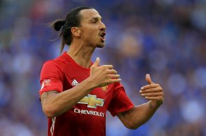 LONDON, ENGLAND - AUGUST 07:  Zlatan Ibrahimovic of Manchester United in action during The FA Community Shield between Leicester City and Manchester United at Wembley Stadium on August 7, 2016 in London, England.  (Photo by Ben Hoskins/Getty Images)