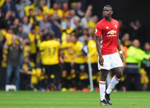 WATFORD, ENGLAND - SEPTEMBER 18: Paul Pogba of Manchester United reacts as Watford score during the Premier League match between Watford and Manchester United at Vicarage Road on September 18, 2016 in Watford, England.  (Photo by Laurence Griffiths/Getty Images)