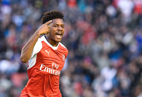 Arsenal's English forward Chuba Akpom celebrates after scoring during the friendly football match between Arsenal and Manchester City at the Ullevi stadium in Gothenburg on August 7, 2016. / AFP / JONATHAN NACKSTRAND        (Photo credit should read JONATHAN NACKSTRAND/AFP/Getty Images)