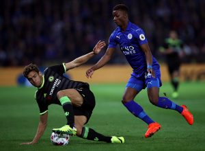 LEICESTER, ENGLAND - SEPTEMBER 20:  Marcos Alonso of Chelsea and Demarai Gray of Leicester City in action during the EFL Cup Third Round match between Leicester City and Chelsea at The King Power Stadium on September 20, 2016 in Leicester, England.  (Photo by Julian Finney/Getty Images)