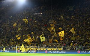 DORTMUND, GERMANY - SEPTEMBER 27:  Borussia Dortmund fans show their support prior to the UEFA Champions League Group F match between Borussia Dortmund and Real Madrid CF at Signal Iduna Park on September 27, 2016 in Dortmund, North Rhine-Westphalia.  (Photo by Dean Mouhtaropoulos/Bongarts/Getty Images)