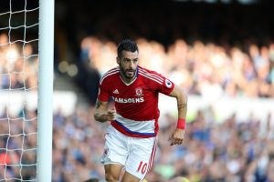 LIVERPOOL, ENGLAND - SEPTEMBER 17: Alvaro Negredo of Middlesbrough celebrates scoring during the Premier League match between Everton and Middlesbrough at Goodison Park on September 17, 2016 in Liverpool, England. (Photo by Lynne Cameron/Getty Images)