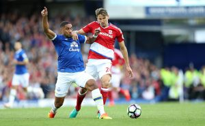 LIVERPOOL, ENGLAND - SEPTEMBER 17: Ashley Williams of Everton and Gaston Ramirez of Middlesbrough during the Premier League match between Everton and Middlesbrough at Goodison Park on September 17, 2016 in Liverpool, England. (Photo by Lynne Cameron/Getty Images)