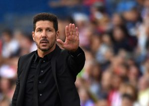 Atletico Madrid's Argentinian coach Diego Simeone gestures during the Spanish league football match Atletico de Madrid vs RC Deportivo at the Vicente Calderon stadium in Madrid on September 25, 2016. / AFP / GERARD JULIEN        (Photo credit should read GERARD JULIEN/AFP/Getty Images)