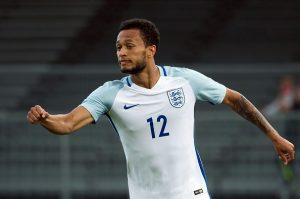 England's forward Lewis Baker celebrates after scoring during the Festival International Espoirs Under 21 football match final France vs England at the Parc des Sports stadium in Avignon, southern France, on May 29, 2016.  / AFP / BERTRAND LANGLOIS        (Photo credit should read BERTRAND LANGLOIS/AFP/Getty Images)