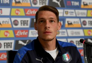 FLORENCE, ITALY - AUGUST 30:  Andrea Belotti of Italy speaks with the media during the press conference at the club's training ground at Coverciano on August 30, 2016 in Florence, Italy.  (Photo by Claudio Villa/Getty Images)