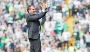 GLASGOW , SCOTLAND - SEPTEMBER 10: Brendan Rodgers Celtic's manager celebrates after the Ladbrokes Scottish Premiership match between Celtic and Rangers at Celtic Park on September 10, 2016 in Glasgow. (Photo by Steve  Welsh/Getty Images)
