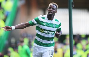 GLASGOW , SCOTLAND - SEPTEMBER 10: Moussa Dembele of Celtic celebrates his 2nd goal during the Ladbrokes Scottish Premiership match between Celtic and Rangers  on September 10, 2016 in Glasgow. (Photo by Steve  Welsh/Getty Images)