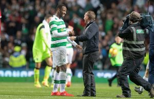 GLASGOW, SCOTLAND - AUGUST 3: Moussa Dembele of Celtic celebrates with Manager Brendan Rodgers after the UEFA Champions League, Third Round, Second Leg between Celtic and Astana at Celtic Park on August 3, 2016 in Glasgow, Scotland. (Photo by Steve  Welsh/Getty Images)
