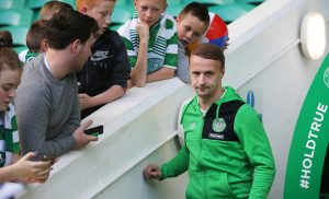 GLASGOW , SCOTLAND - SEPTEMBER 10: Leigh Griffiths of Celtic signs autographs inside Celtic Stadium before the Ladbrokes Scottish Premiership match between Celtic and Rangers  on September 10, 2016 in Glasgow. (Photo by Steve  Welsh/Getty Images)