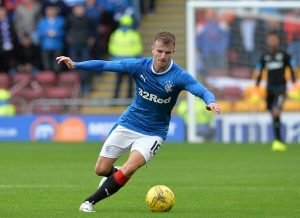 MOTHERWELL, SCOTLAND - JULY 16: Andy Halliday of Rangers in action during the Scottish League Cup First Round Group Stage match between Motherwell FC and Rangers FC at Fir Park on July 16, 2016 in Motherwell, Scotland. (Photo by Mark Runnacles/Getty Images)