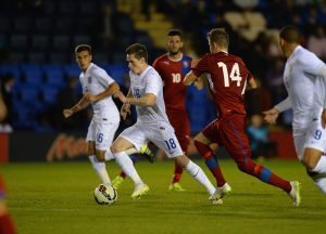 SHREWSBURY, ENGLAND - SEPTEMBER 07:  Ryan Kent of England is tackled by Jakub Jankto of Czech Republic during the International Match between England U20 and Czech Republic U20 at Greenhous Meadow on September 7, 2015 in Shrewsbury, England.  (Photo by Tony Marshall/Getty Images)