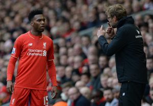 Liverpool's German manager Jurgen Klopp (R) gives instructions to Liverpool's English striker Daniel Sturridge during the English Premier League football match between Liverpool and Stoke City at Anfield in Liverpool, northwest England on April 10, 2016. / AFP / OLI SCARFF / RESTRICTED TO EDITORIAL USE. No use with unauthorized audio, video, data, fixture lists, club/league logos or 'live' services. Online in-match use limited to 75 images, no video emulation. No use in betting, games or single club/league/player publications.  /         (Photo credit should read OLI SCARFF/AFP/Getty Images)