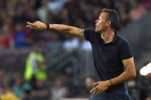 Barcelona's coach Luis Enrique gives instructions during the UEFA Champions League football match FC Barcelona vs Celtic FC at the Camp Nou stadium in Barcelona on September 13, 2016. / AFP / LLUIS GENE        (Photo credit should read LLUIS GENE/AFP/Getty Images)
