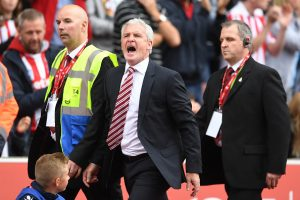 STOKE ON TRENT, ENGLAND - SEPTEMBER 10:  Mark Hughes, Manager of Stoke City reacts after being sent to the stands during the Premier League match between Stoke City and Tottenham Hotspur at Britannia Stadium on September 10, 2016 in Stoke on Trent, England.  (Photo by Laurence Griffiths/Getty Images)