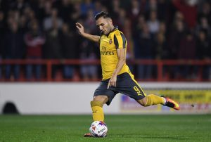 NOTTINGHAM, ENGLAND - SEPTEMBER 20: Lucas Perez of Arsenal scores his sides second goal from the penalty spot during the EFL Cup Third Round match between Nottingham Forest and Arsenal at City Ground on September 20, 2016 in Nottingham, England.  (Photo by Shaun Botterill/Getty Images)