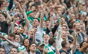 GLASGOW , SCOTLAND - SEPTEMBER 10: Celtic Fans celebrate their teams victory over rivals Rangers during the Ladbrokes Scottish Premiership match between Celtic and Rangers at Celtic Park on September 10, 2016 in Glasgow. (Photo by Steve  Welsh/Getty Images)