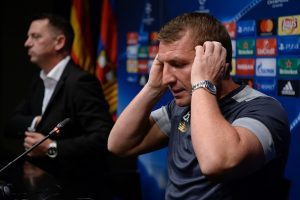 Celtic's coach Brendan Rodgers attends a press conference prior to a training session at the Camp Nou stadium in Barcelona on September 12, 2016, on the eve of their UEFA Champions League Group C football match against FC Barcelona.  / AFP / JOSEP LAGO        (Photo credit should read JOSEP LAGO/AFP/Getty Images)
