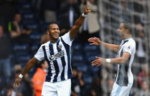 WEST BROMWICH, ENGLAND - SEPTEMBER 17:  Jose Salomon Rondón of West Bromwich Albion (L) celebrates scoring his sides second goal with Nacer Chadli of West Bromwich Albion (R) during the Premier League match between West Bromwich Albion and West Ham United at The Hawthorns on September 17, 2016 in West Bromwich, England.  (Photo by Shaun Botterill/Getty Images)
